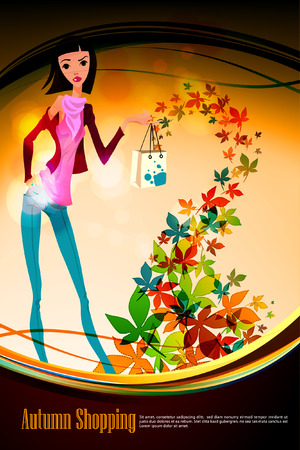 woman holding bag: Autumn Shopping with Beautiful Woman holding Bag | Falling Leafs Illustration