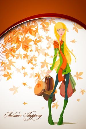 herbstfrau: Herbst Shopping mit Beautiful Woman holding Bag | Falling Leafs Illustration
