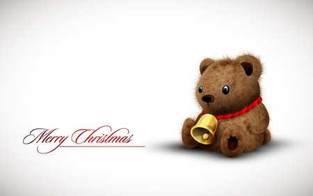 earing: Teddy Bear earing a Golden Bell as Necklace wishes you a Merry Christmas |  Illustration