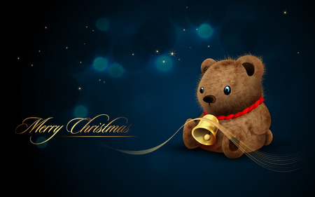 Teddy Bear with Golden Bell  Flares and Lights | Christmas Card 版權商用圖片 - 8344269