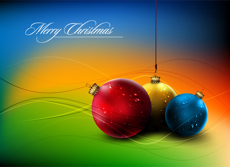 red sphere: Christmas Card with Realistic Balls and Shiny Wet Drops
