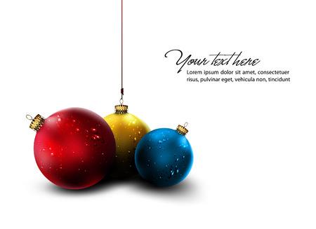 red sphere: Cartolina di Natale   Decorazione dorata lucida   Isolato palle di Natale