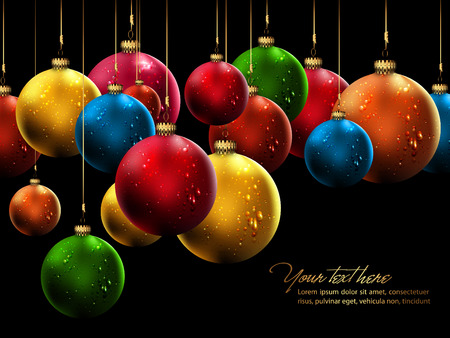 Many Christmas Balls with Shiny Water Drops  Illustration