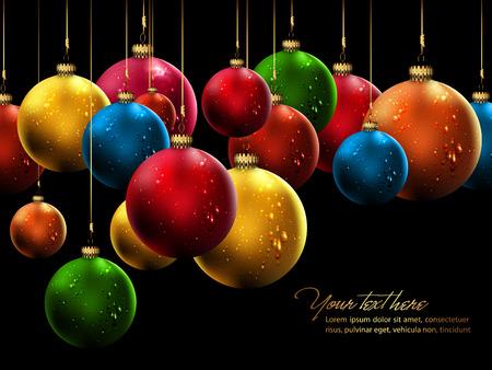 Many Christmas Balls with Shiny Water Drops  Illustration