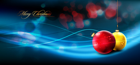 Christmas Banner with Realistic Balls and Shiny Wet Drops |  Flares and Lights in Background 向量圖像