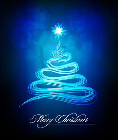 Christmas Tree made of Abstract Brush Lines | Greeting Card Background | Cold Colors Vector