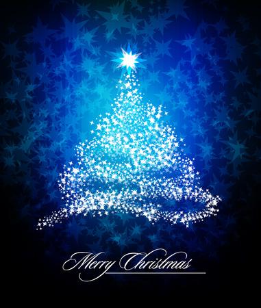 Christmas Tree of Glittering Stars  Vector