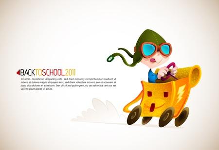 zaino scuola: Ragazzo carino Corse suo zaino della scuola   Torna Serie Scuola   illustrazione vettoriale dettagliata con spazio per il testo   Tutti i livelli di nome conseguenza