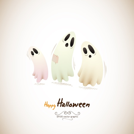 Happy Halloween Ghosts | Separate Layers Named Accordingly Illustration
