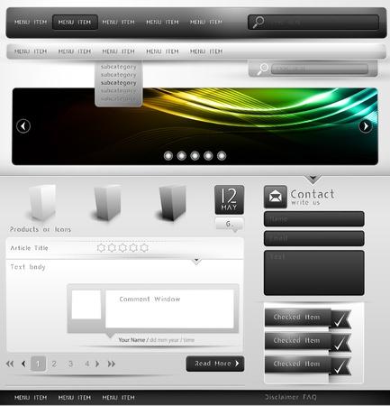 komentář: Gray-scale Webov nebo Blog Design Collection Element | Všechny objekty jsou odděleny na vrstvy s názvem odpovídajícím | Skvělé pro rozhraní smartphone aplikace vzorů, jakož Ilustrace