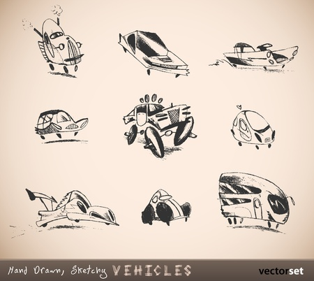 Hand Drawn, Sketchy Vehicles, Cars, Automobiles   Children Drawing Vector Set Vector
