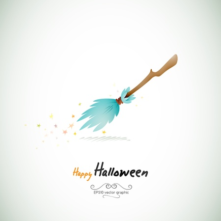 frighten: Magical Halloween Broom,  Separate Layers Named Accordingly Illustration