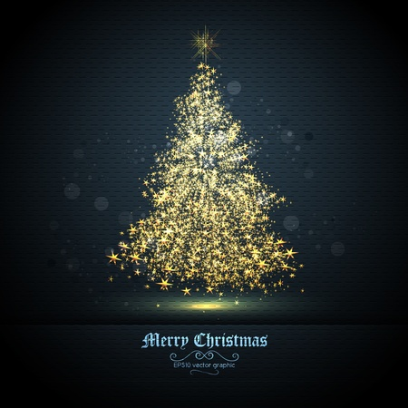Christmas Greeting Card with Tree of Glittering Golden Stars | EPS10 Graphic | Separate Layers Named Accordingly 版權商用圖片 - 11331261