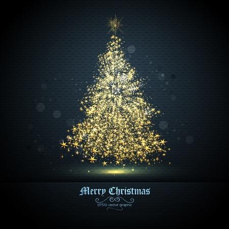 solemn: Tarjeta de felicitaci�n de la Navidad con el �rbol de brillantes estrellas de oro   EPS10 gr�fico   capas separadas nombradas en consecuencia