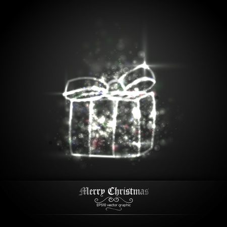 Dark Silver Christmas Greeting with Gift of Glittering Lights | EPS10 Graphic | Separate Layers Named Accordingly Stock Vector - 11331254