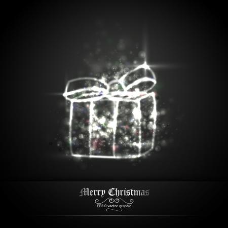 solemn: Oscuro Plata felicitaci�n de Navidad con el regalo de luces brillantes   EPS10 gr�fico   capas separadas nombradas en consecuencia
