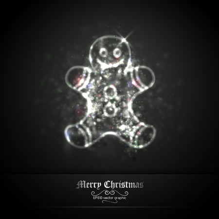 Dark Silver Christmas Greeting with Coockie of Glittering Lights | EPS10 Graphic | Separate Layers Named Accordingly Stock Vector - 11331262