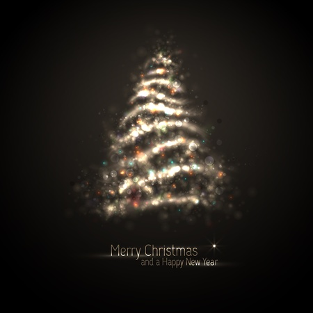 Dark Bronze Christmas Greeting with Tree of Glittering Lights | EPS10 Graphic | Separate Layers Named Accordingly Illustration