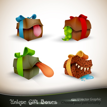 personality: The Precious, The Sticky, The Vicious And Bruce | Christmas Gifts with Personality | EPS10 Vector Set | | Separate Layers Named Accordingly Illustration