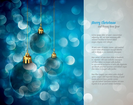 Christmas Lights and Spheres | Greeting for Poems | Layered EPS10 Background Vector