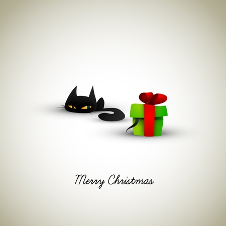 Kitten Excited About Present | Great Greeting for Pet Owners | EPS10 Graphic | Separate Layers Named Accordingly Vector