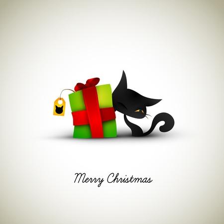 Kitten Kitze auf Geschenkbox für ihre Labeled   Great Greeting für Tierhalter   Layered EPS10 Vector Hintergrund