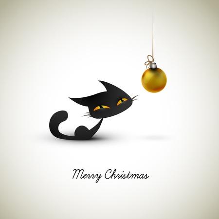 Little Cat Excited About Christmas Globe | Great Greeting for Pet Owners | Layered EPS10 Vector Background Vector
