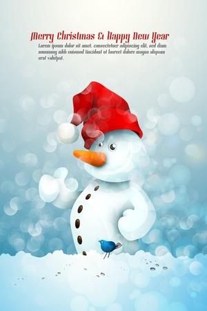 Snowman with Santa Vector