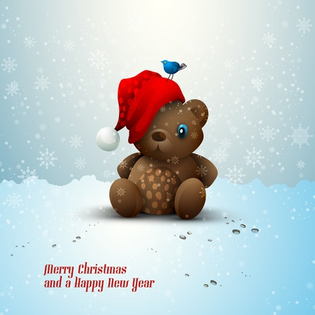 Christmas Teddy Bear Sitting Alone in the Snow Vector