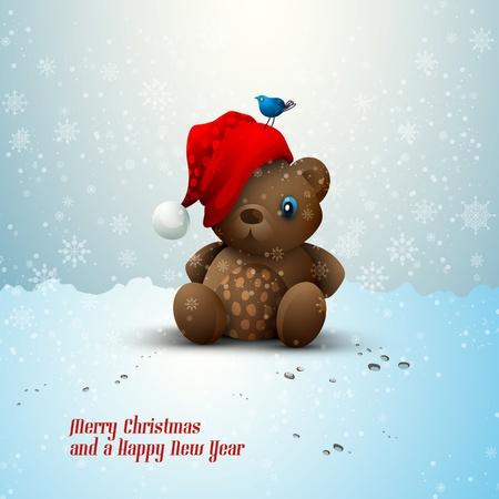 plush: Christmas Teddy Bear Sitting Alone in the Snow