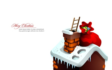 large house: Christmas Greeting with Cute House and Santa Claus Hidden in the Chimney | Large Space for your text | Layered EPS10 Vector