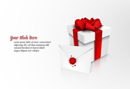 sealed: Christmas Gift Box with Red Ribbon Bow and Wax Sealed Envelope | EPS10 Vector Graphic | Separate Layers Named Accordingly