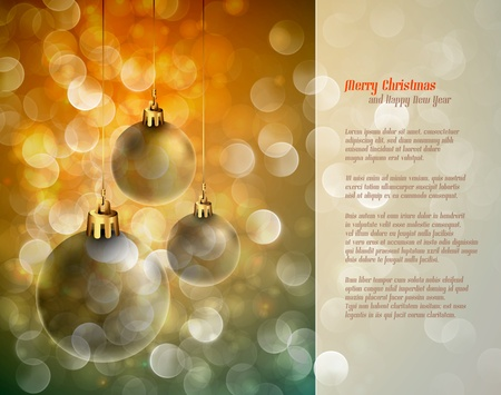 poems: Christmas Background with Shiny Globes and Sparkling Lights | Greeting for Poems | Layered EPS10 Background Illustration