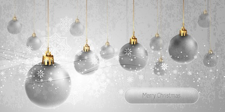 Christmas Banner with silver Globes | EPS10 Vector Background | Layers Organized and Named