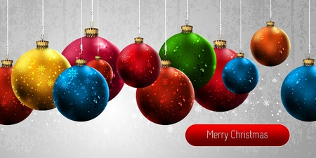 Christmas Banner with Colorful Globes | EPS10 Vector Background | Layers Organized and Named