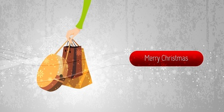 shoppingbag: Christmas Banner Internet Shopping Illustration | EPS10 Vector Background | Layers Organized and Named