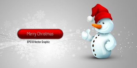 Christmas Banner with Positive Attitude Snowman | EPS10 Vector Background | Layers Organized and Named Illustration