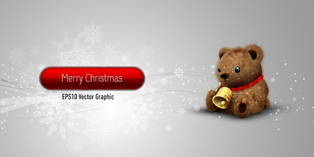 Christmas Banner with Teddy Bear   EPS10 Vector Background   Layers Organized and Named Vector