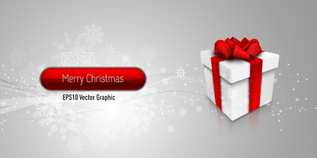 Christmas Banner with Gift Box| EPS10 Vector Background | Layers Organized and Named