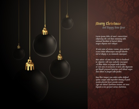 Elegant Christmas Greeting with Dark Globes | EPS10 Vector Background | Layers Organized and Named Vector