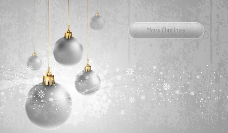 Silver Greeting Card with Christmas Globes | EPS10 Vector Background | Layers Organized and Named Stock Vector - 11568994