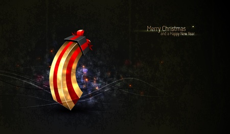 Christmas Greeting with Unique Gift Box and Highly Textured Background | EPS10 Vector Background | Layers Organized and Named