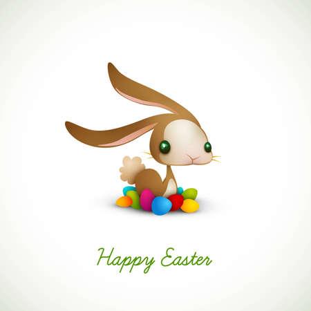 flappers: Conejo de Pascua con huevos de colores | 10 EPS Vector gr�fico | Capas Organizado y con nombre tanto
