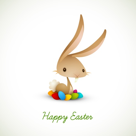 Easter Bunny with Colored Eggs   EPS 10 Vector Graphic   Layers Organized and Named Accordingly