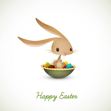 flappers: Conejito de Pascua sentado en cuenco lleno de huevos de colores | EPS 10 Vector gr�fico | Capas organizado y con nombre consiguiente Vectores