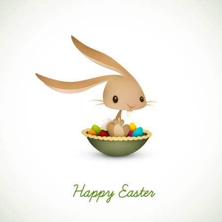 named: Easter Bunny Sitting in Bowl full of Colored Eggs  EPS 10 Vector Graphic   Layers Organized and Named Accordingly
