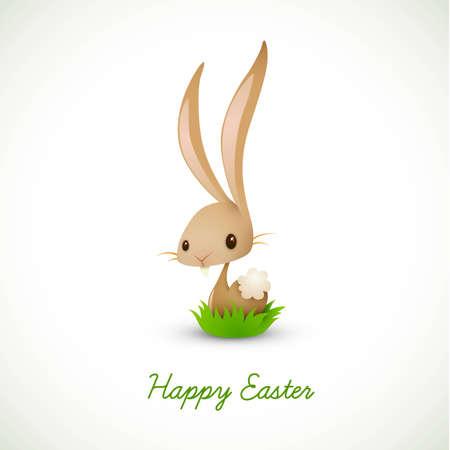 flappers: Conejito de Pascua sentado en la hierba | 10 EPS Vector gr�fico | Capas Organizado y con nombre tanto
