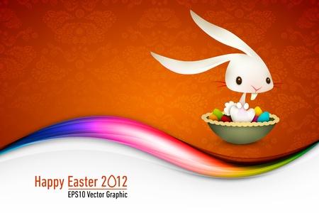 flappers: Conejito de Pascua sentado en el cuenco lleno de huevos de colores | 10 EPS Vector de tarjetas | Capas organizados y con nombre tanto Vectores