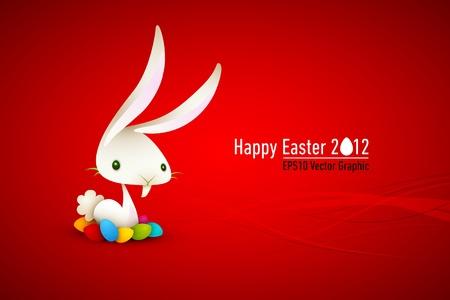 flappers: White Rabbit | Bunny con huevos de colores | Pascua Ilustraci�n | Capas organizado y con nombre consiguiente Vectores