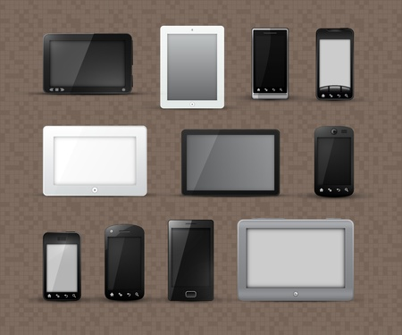 Different Generic Models of Tablet Devices and Smart Phones | EPS10 Vector Graphic | Layers Organized and Named Vector
